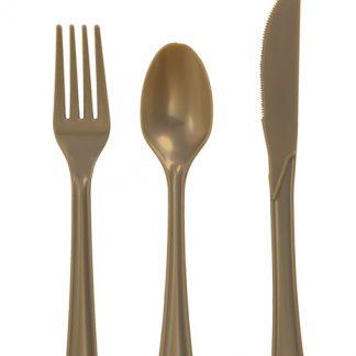 Plastic Gold Spoons 20pk