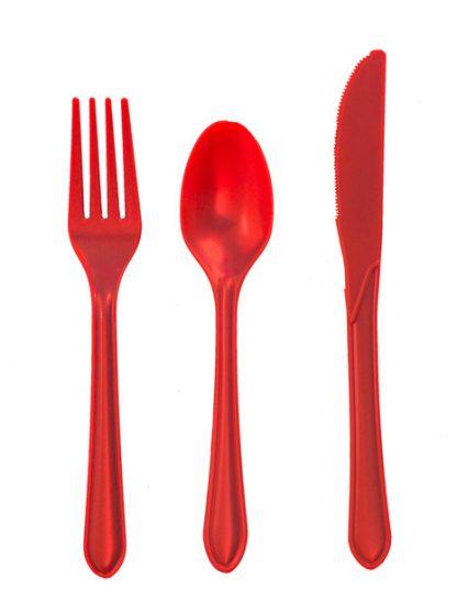 Plastic Red Knives 25pk