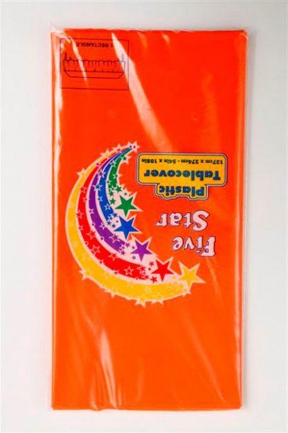 Plastic Table Cover Rectangle - Orange