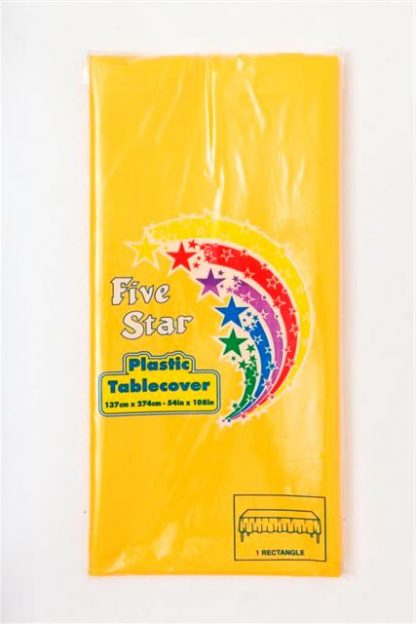 Plastic Table Cover Rectangle - Yellow