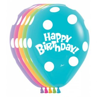 Balloon Single Happy Birthday Polka Dots