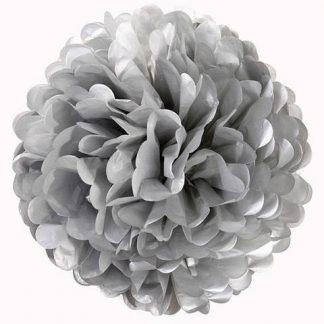 Tissue Paper Pom Pom 40cm - Silver