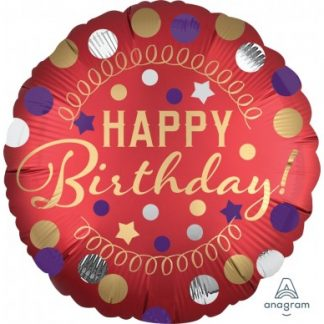 "Foil Balloon 18"" Happy Birthday - Red Satin Birthday Party"