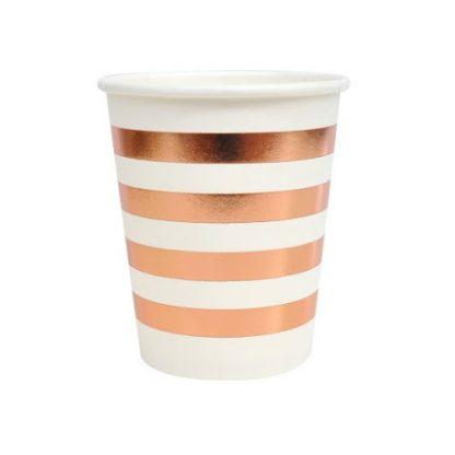 Rose Gold Foil Stripe Paper Cups 8pk