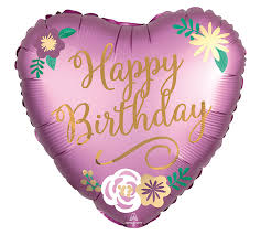 "Foil Balloon 18"" Happy Birthday - Satin Birthday Flower"