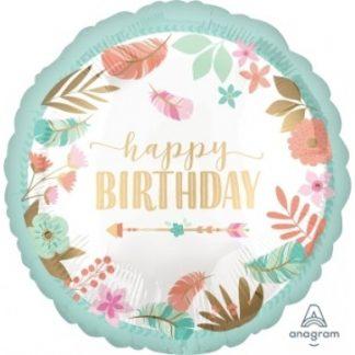 "Foil Balloon 18"" Happy Birthday - Satin Boho Birthday Girl"