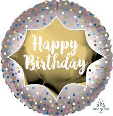 """Foil Balloon 18"""" Happy Birthday - Satin Gold Burst"""