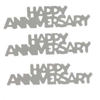 Scatter Confetti Happy Anniversary Silver