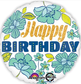 "Foil Balloon 18"" Happy Birthday - Floral"