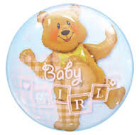 Double Bubble Balloon Baby Girl Bear Block