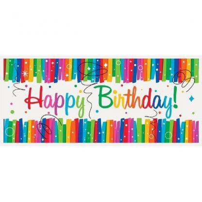 Giant Banner Birthday Rainbow Ribbons