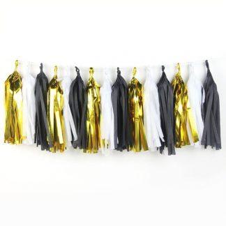 Gold, Black & White Tassel Garland - 2.7m
