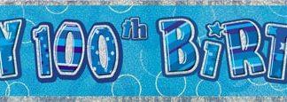 Banner Happy 100th Birthday - Blue & Silver