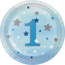 One Little Star Birthday Plates Blue - 8pk