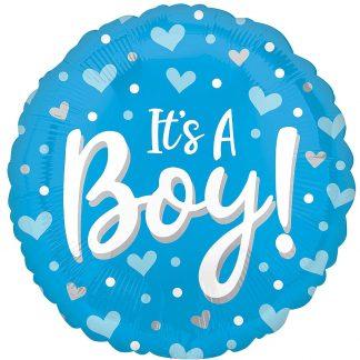 "Foil Balloon 18"" It's a Boy Hearts"