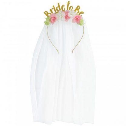 Bride To Be Flower Headband & Veil