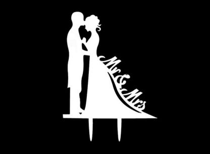 Wedding Cake Topper - Bride & Groom - White