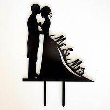 Wedding Cake Topper - Bride & Groom - Black