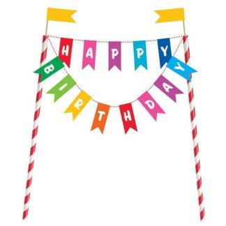 Cake Topper Happy Birthday Bunting