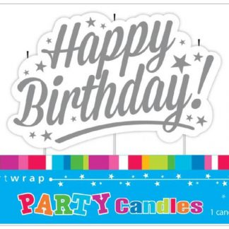 Happy Birthday Candle Silver Stars