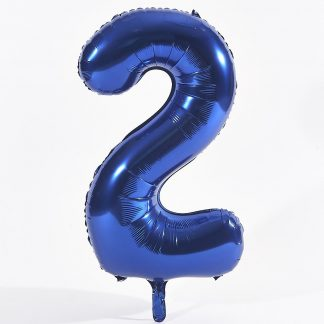 "Foil Balloon Number Blue ""2"" (Uninflated)"