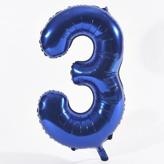 """Foil Balloon Number Blue """"3"""" (Uninflated)"""