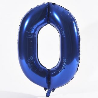 """Foil Balloon Number Blue """"0"""" (Uninflated)"""