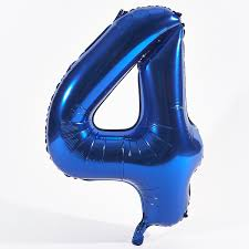"""Foil Balloon Number Blue """"4"""" (Uninflated)"""