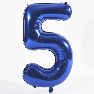 """Foil Balloon Number Blue """"5"""" (Uninflated)"""