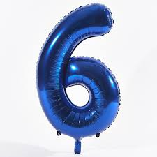 """Foil Balloon Number Blue """"6"""" (Uninflated)"""