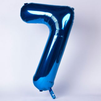 """Foil Balloon Number Blue """"7"""" (Uninflated)"""