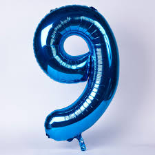 """Foil Balloon Number Blue""""9"""" (Uninflated)"""