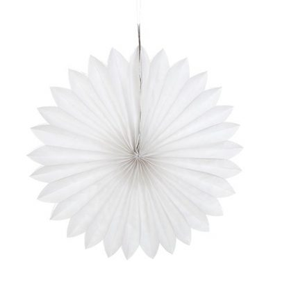 Tissue Paper Fan White - 25cm