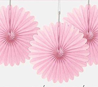 Tissue Paper Fans Light Pink - 3 mini fans