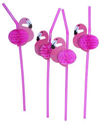 Hawaiian Luau Flamingo Straws 12pk