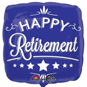 "Foil Balloon 18"" Happy Retirement Blue Square"