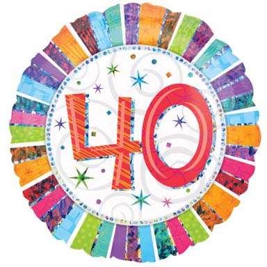 Foil Balloon 40th Birthday - Radiant