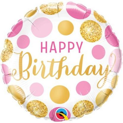 """Foil Balloon 18"""" Happy Birthday - Pink & Gold Dots"""