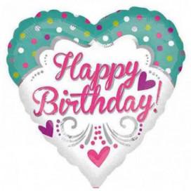 """Foil Balloon 18"""" Happy Birthday - Hearts & Dots"""