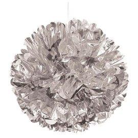 Foil Pom Pom 25cm - Metallic Silver