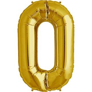 "Foil Balloon Number Gold ""0"" (Uninflated)"