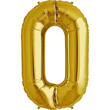 """Foil Balloon Number Gold """"0"""" (Uninflated)"""