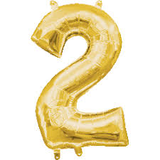 """Foil Balloon Number Gold """"2"""" (Uninflated)"""