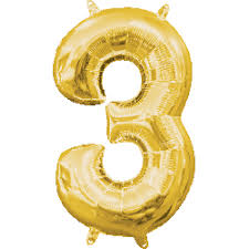 "Foil Balloon Number Gold ""3"" (Uninflated)"