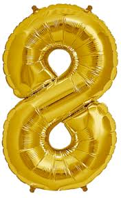 "Foil Balloon Number Gold ""8"" (Uninflated)"