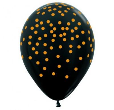 Balloon Single Black - Gold Confetti