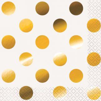 Beverage Napkins 16pk - Gold Dots