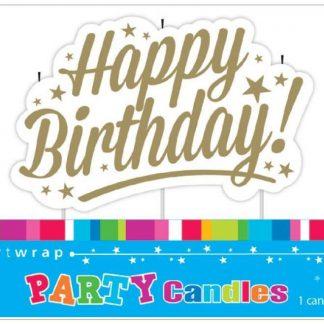 Happy Birthday Candle Gold Stars