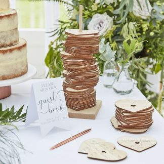 Wooden Hearts - Stacking Guest Book