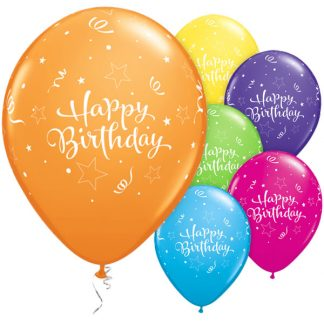 Balloon Single Happy Birthday Stars & Streamers